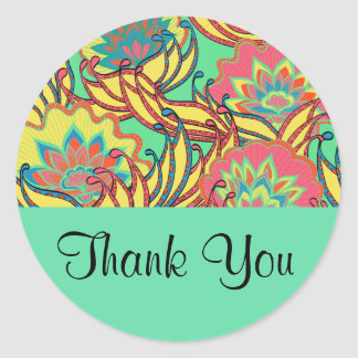 Caribbean Colors Boho Floral Thank You Classic Round Sticker