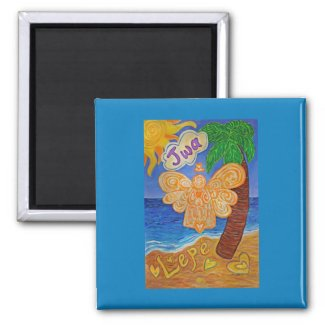 Caribbean Creole Beach Angel Custom Fridge Magnets