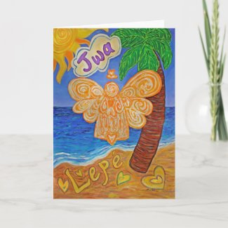 Caribbean Creole Beach Angel Custom Greeting Cards