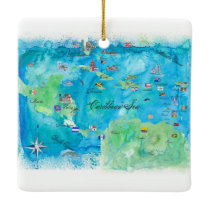 Caribbean Cruise Travel Poster Map Ceramic Ornament