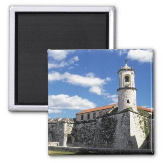 Caribbean, Cuba, Havana. Old Havana, Castillo 2 Inch Square Magnet