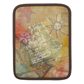 Caribbean Dream ship beige sail pink white Sleeves For iPads