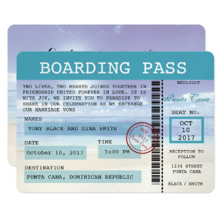 Caribbean Dreamz Wedding Boarding Pass Invitation