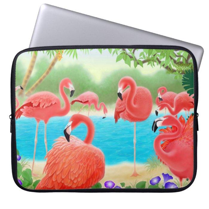 Caribbean Flamingo Birds Electronics Bag Laptop Computer Sleeve