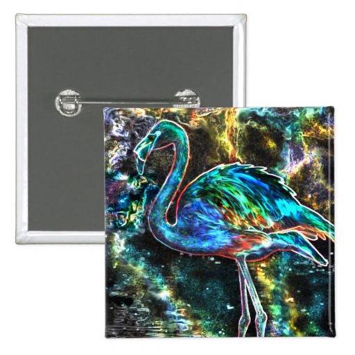 Caribbean Flamingo Digital Art Button