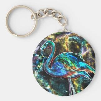 Caribbean Flamingo Digital Art Keychain