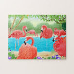 "Caribbean Flamingo Lagoon Puzzle<br><div class=""desc"">Original fine art painting of colorful pink flamingos by artist Carolyn McFann on a quality jigsaw puzzle for flamingo fans. 