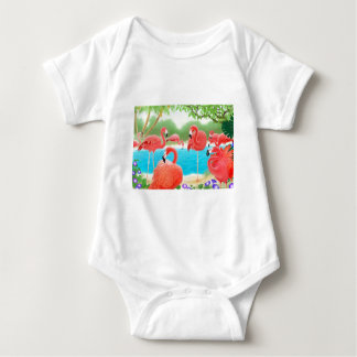 Caribbean Flamingos Baby Bodysuit