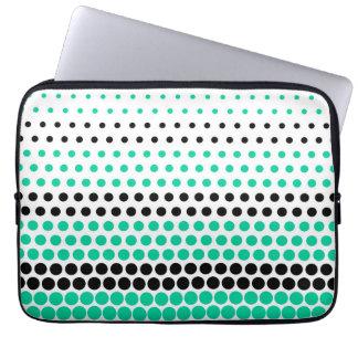 Caribbean Green and Black Polka Dot Laptop Sleeve