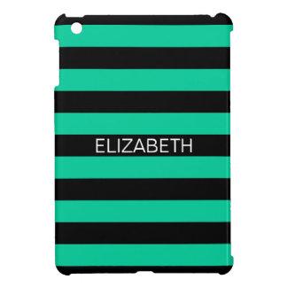 Caribbean Green Black Horiz Preppy Stripe Monogram Case For The iPad Mini