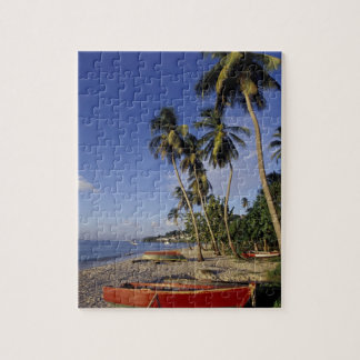 CARIBBEAN, Grenada, St. George, Boats on palm Jigsaw Puzzle