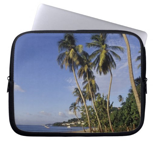 CARIBBEAN, Grenada, St. George, Boats on palm Laptop Computer Sleeve