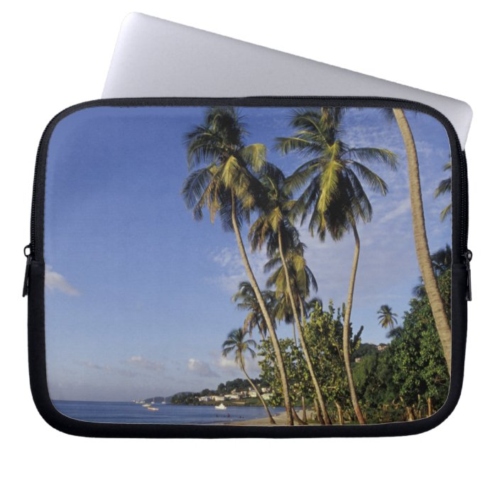 CARIBBEAN, Grenada, St. George, Boats on palm Laptop Sleeve