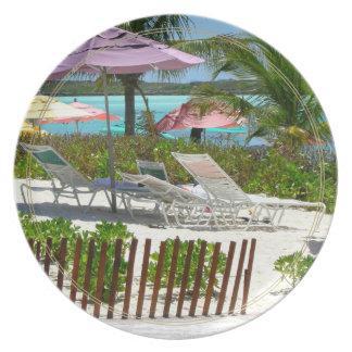 Caribbean Island Beach Scene Dinner Plate