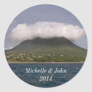 Caribbean island from the sea classic round sticker