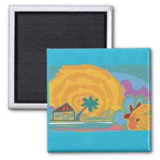 Caribbean Island Sun 2 Inch Square Magnet