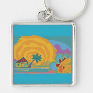 Caribbean Island Sun Keychain