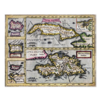 Caribbean Islands - 17th Century Map Poster