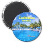 Caribbean islands 2 inch round magnet