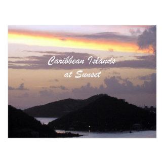 Caribbean Islands at Sunset Postcard