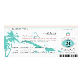 Caribbean Islands Boarding Pass Wedding 4x9.25 Paper Invitation Card