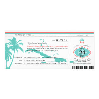 Caribbean Islands Boarding Pass Wedding Card