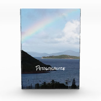 Caribbean Islands with Rainbow and Sunny Clouds Photo Block