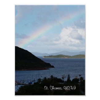 Caribbean Islands with Rainbow and Sunny Clouds Poster