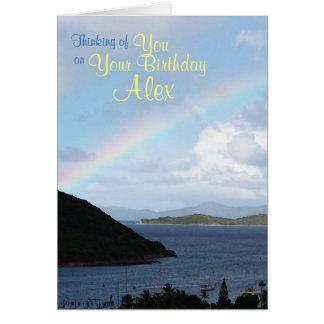 Caribbean Islands with Rainbow Birthday Card