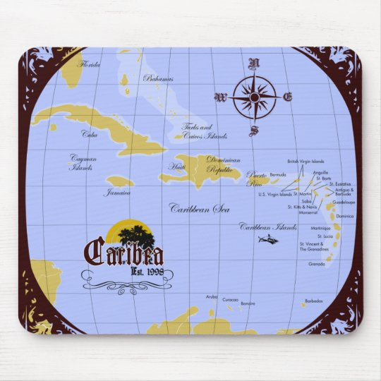 Caribbean Map Mouse pad