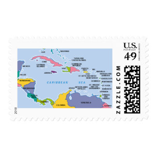 Caribbean Map Postage