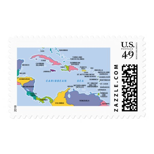 Caribbean Map Postage