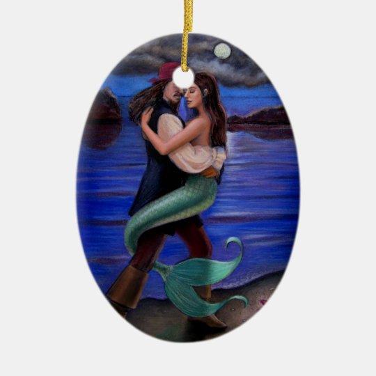 Caribbean Mermaid & Pirate Oval Christmas Ornament | Zazzle