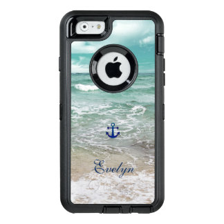 Caribbean Ocean Beach Anchor Monogram OtterBox Defender iPhone Case