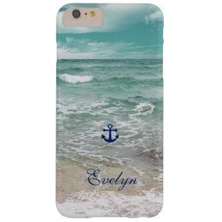 Caribbean Ocean Beach View Anchor Monogram Barely There iPhone 6 Plus Case