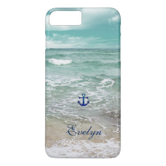 Caribbean Ocean Beach View Anchor Monogram iPhone 8 Plus/7 Plus Case