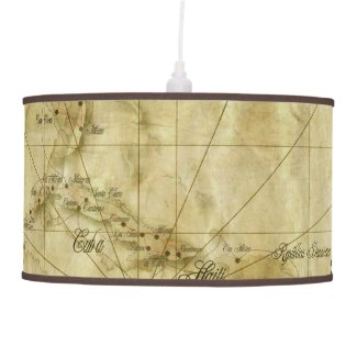Caribbean - old map ceiling lamp