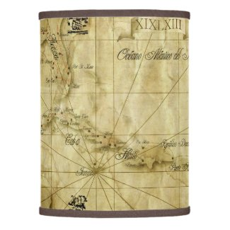 Caribbean old map lamp shade