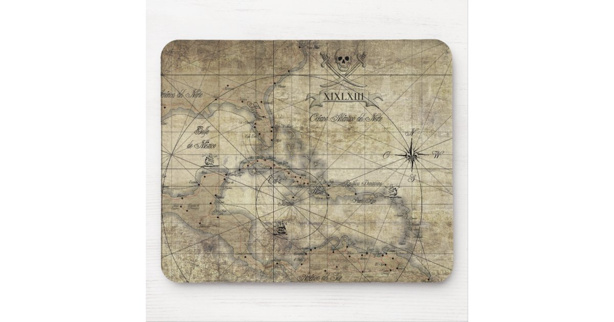 Caribbean - old map mouse pad | Zazzle.com
