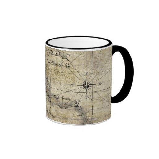 Caribbean - old map ringer coffee mug