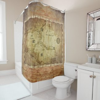 Caribbean - old map... shower curtain
