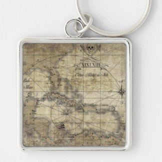 Caribbean - old map Silver-Colored square keychain