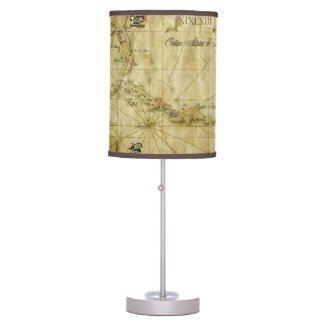Caribbean - old map table lamp
