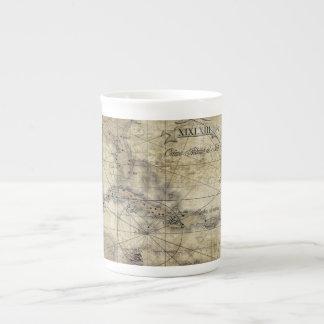 Caribbean - old map tea cup