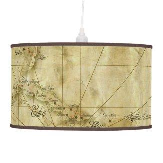 Caribbean - old map... V2 Ceiling Lamp