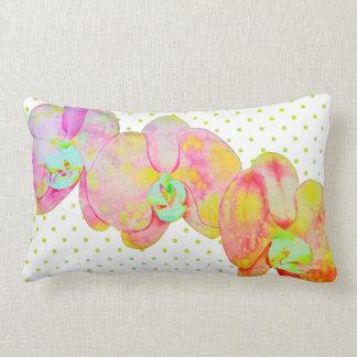 Caribbean Orchids - gold polka dotsgreen Lumbar Pillow