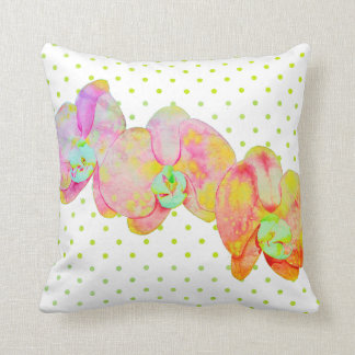 Caribbean Orchids - gold polka dotsgreen Throw Pillow