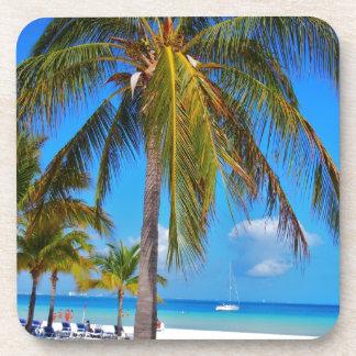 Caribbean palm tree beverage coaster