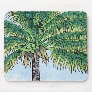 Caribbean palm tree mouse pad