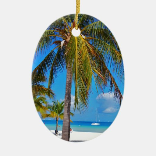 Caribbean palm tree Double-Sided oval ceramic christmas ornament